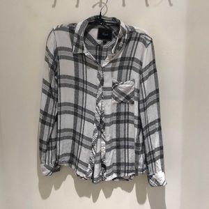 Rails black and white button down shirt
